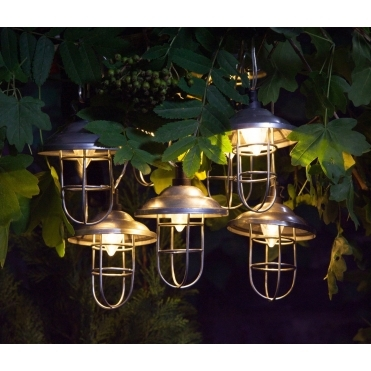 Solar Warm White LED Galvanised Metal Lanterns - Multi Function Lights