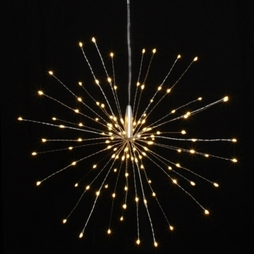 Starburst LED Light Ornament Silver Small - Hanging
