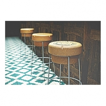 Tall Champagne Cork Bar / Breakfast Bar Stool Silver Frame