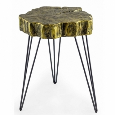Tree Trunk Slice Side Table - Antiqued Gold