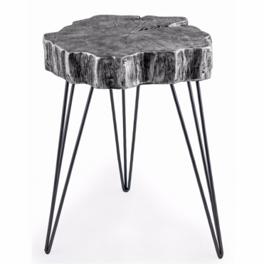 Tree Trunk Slice Side Table - Antiqued Silver