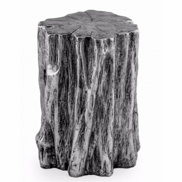 Tree Trunk Stool / Pedestal - Antiqued Silver