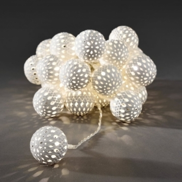 White Maroq Metal Sphere LED Fairy String Lights Mains Powered