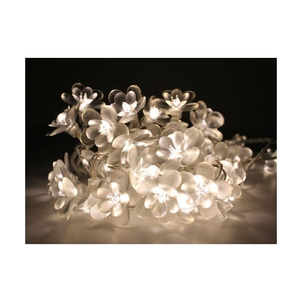 White Moon Flower LED String Lights Chain Mains Operated