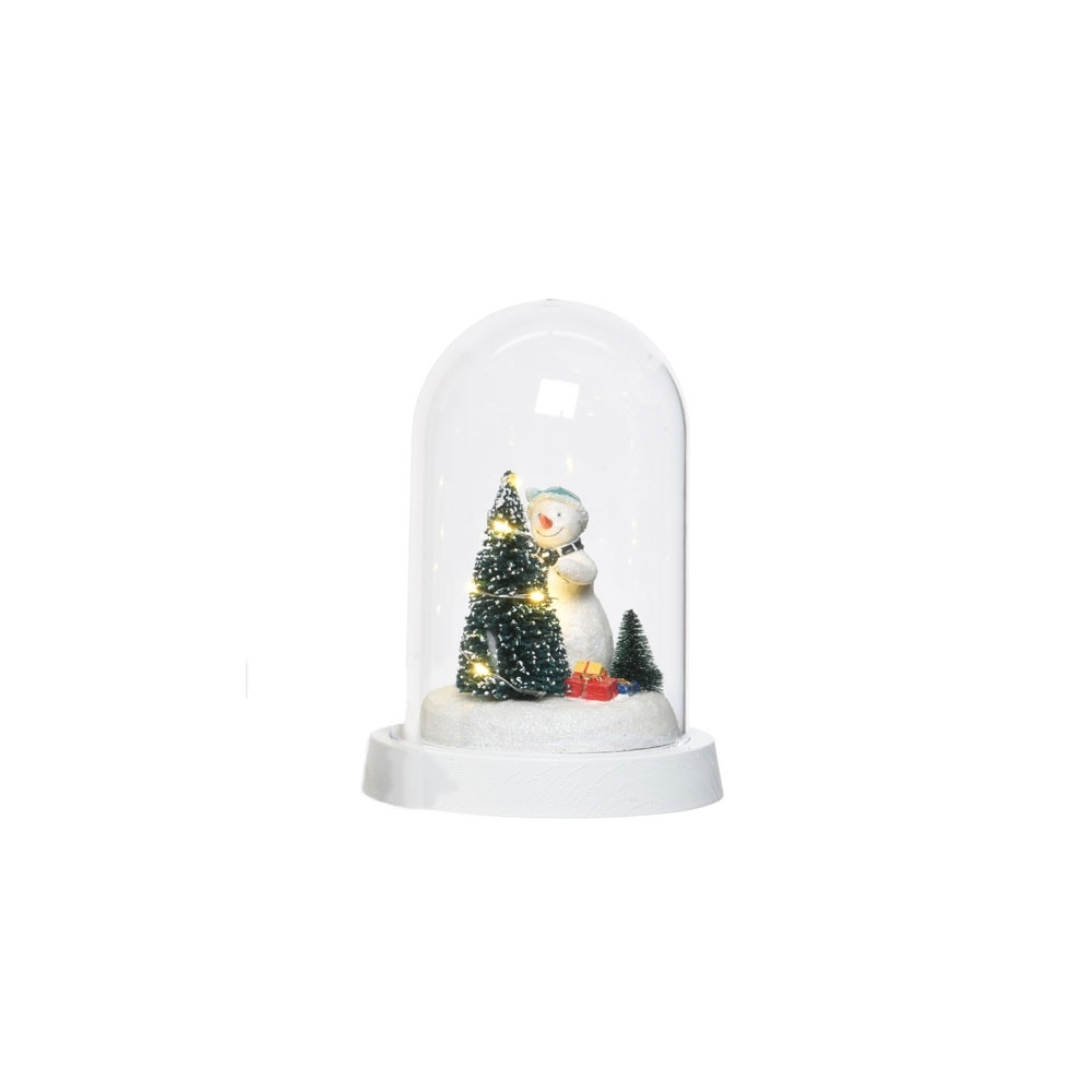 Illuminated Warm White LED Christmas Snowman Glass Dome Gifts