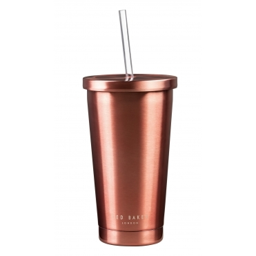 Insulated Stainless Steel Tumbler with Straw - Rose Gold