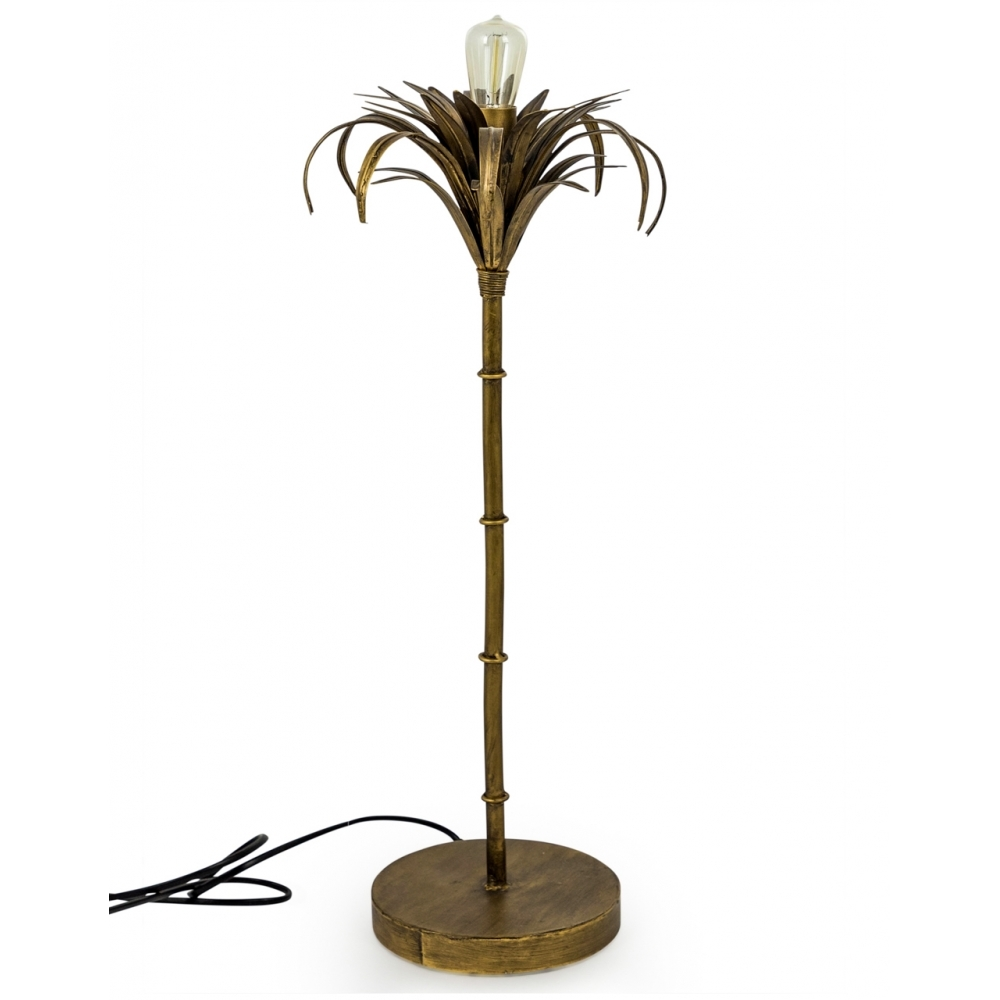 Iron Palm Tree Table Lamp Antiqued Gold