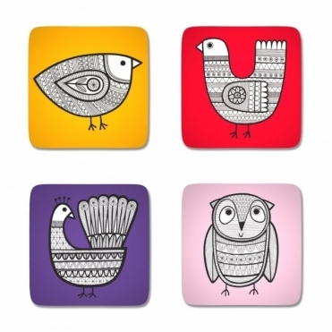 Scandi Linea Bird Coasters in Gift Box - Set of 4