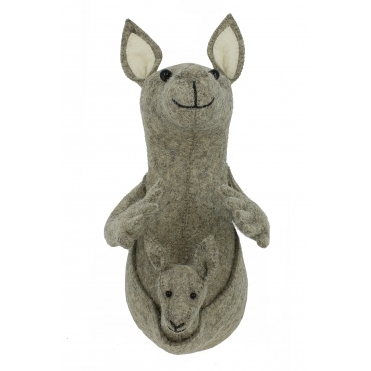 Kangaroo Felt Animal Wall Head - Mini
