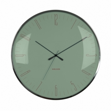 Dragonfly Dome Glass Wall Clock - Jungle Green