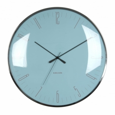 Dragonfly Dome Glass Wall Clock - Light Blue