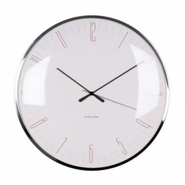 Dragonfly Dome Glass Wall Clock - Light Pink