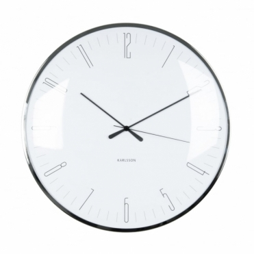 Dragonfly Dome Glass Wall Clock - White