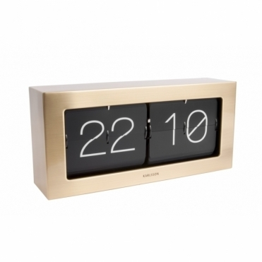 Extra Large Flip Clock Boxed - Brushed Gold