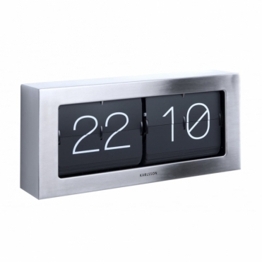 Extra Large Flip Clock Boxed - Brushed Steel