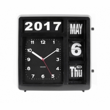 Flip Calendar Wall / Table Clock - Black