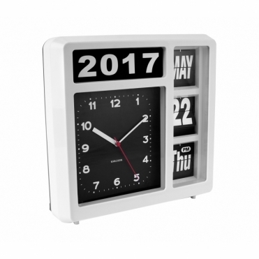 Flip Calendar Wall / Table Clock - White