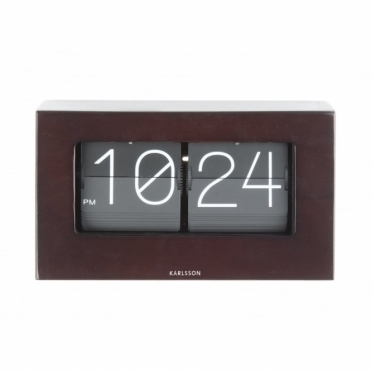 Flip Clock Boxed - Dark Wood