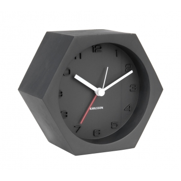 Hexagon Concrete Alarm / Mantel Clock - Black