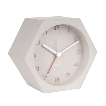 Hexagon Concrete Alarm / Mantel Clock - Light Grey