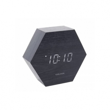 Hexagon LED Alarm Clock with Date & Temperature - Black Wood