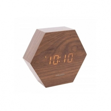 Hexagon LED Alarm Clock with Date & Temperature - Dark Wood