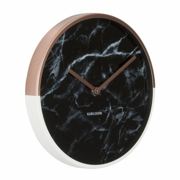 Marble Delight Wall Clock Copper & Black