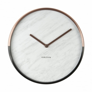 Marble Delight Wall Clock Copper & White