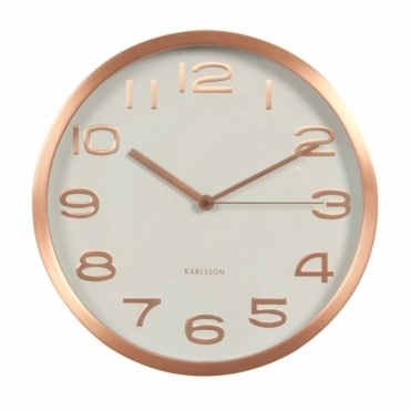 Maxie White Wall Clock with Copper Case & Numbers