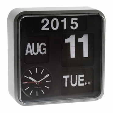 Mini Flip Calendar Wall Clock Silver