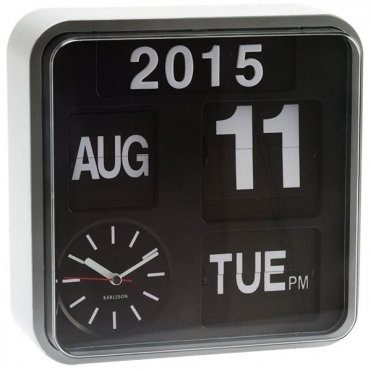 Mini Flip Calendar Wall Clock White