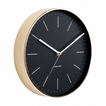 Minimal Black Wall Clock - Gold Case