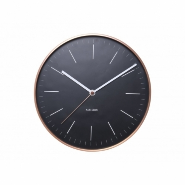 Minimal Black Wall Clock with Copper Case