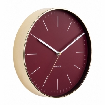 Minimal Burgundy Red Wall Clock - Gold Case