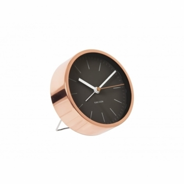 Minimal Copper Alarm Clock Black