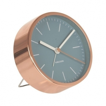 Minimal Copper Alarm Clock - Jeans Blue