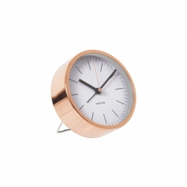 Minimal Copper Alarm Clock White
