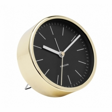 Minimal Gold Alarm Clock - Black