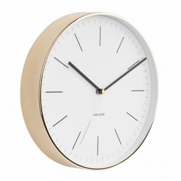 Minimal White Wall Clock - Gold Case