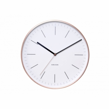 Minimal White Wall Clock with Copper Case
