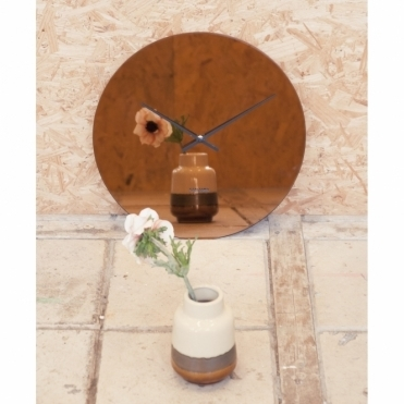 Mirage Glass Mirror Wall Clock - Copper