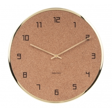 Modest Cork Wall Clock - Gold