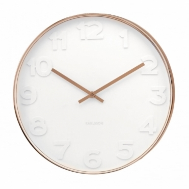 Mr White Numbers Copper Wall Clock Small