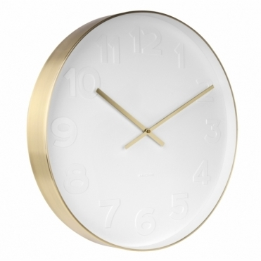 Mr White Numbers Wall Clock Large - Brushed Gold