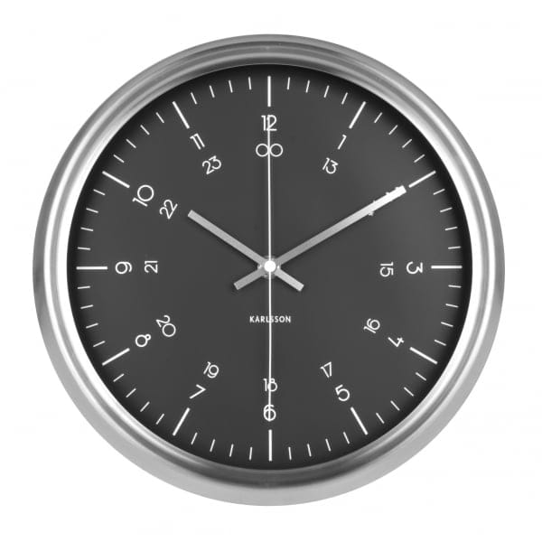 karlsson nautical black wall clock with stainless steel case karlsson from hurn hurn uk. Black Bedroom Furniture Sets. Home Design Ideas