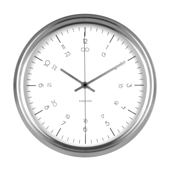 karlsson nautical white wall clock with stainless steel case. Black Bedroom Furniture Sets. Home Design Ideas