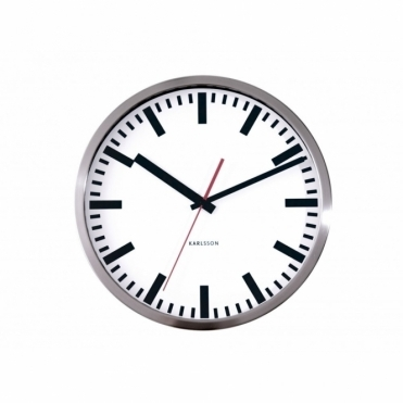 Station Brushed Steel 29cm Wall Clock