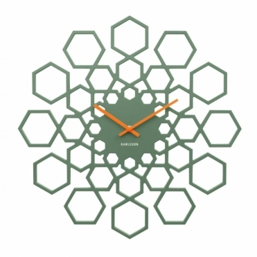 Sunshine Hexagon Wall Clock - Green
