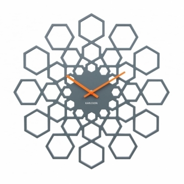 Sunshine Hexagon Wall Clock - Grey