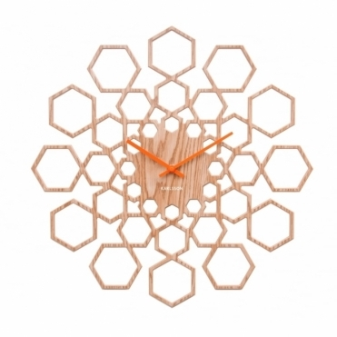 Sunshine Hexagon Wall Clock - Natural